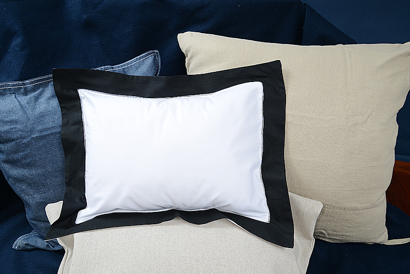 Baby Pillow Sham. Black trimmed