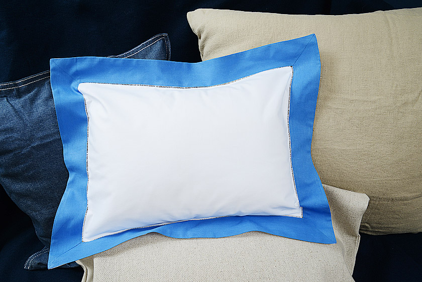 Baby Pillow Sham. French Blue trimmed