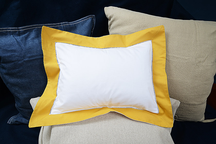 Baby PIllow Sham. Habanero Gold trimmed