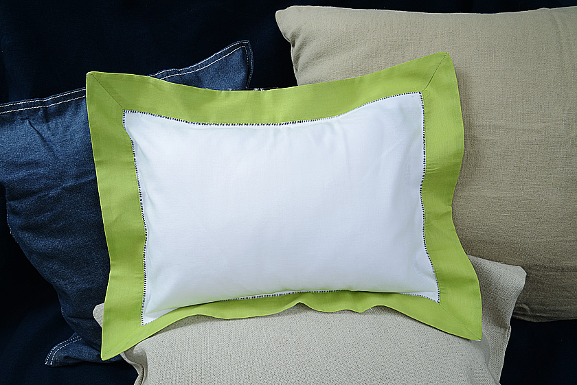 Baby Pillow Sham. Hot Green trimmed