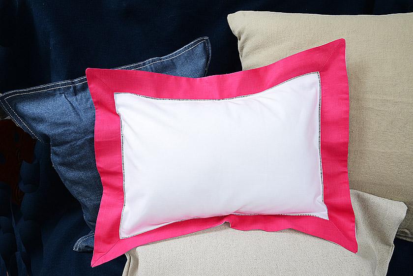 Baby Pillow Sham Hot Pink Trimmed