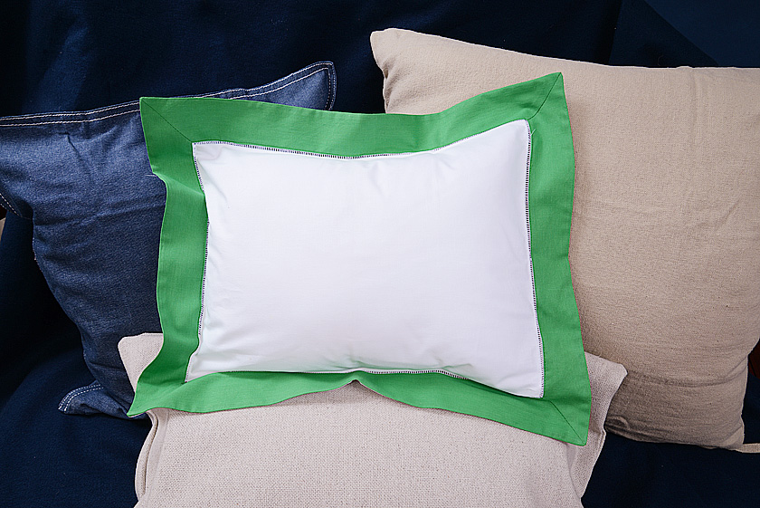 "Baby Pillow Sham 12x16"". Kelly Green colored trimmed"