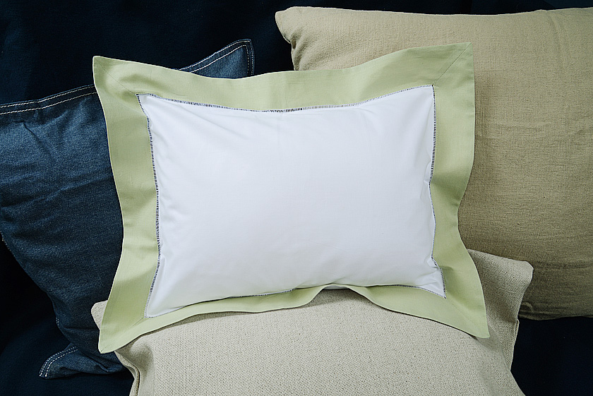 "Baby Pillow Sham. 12x16"". Mellow Green colored trimmed"