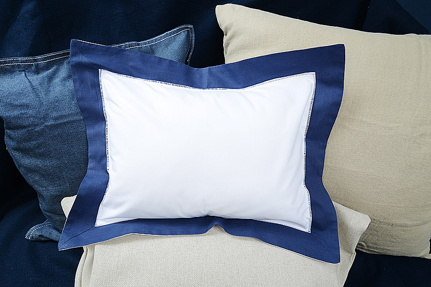 Baby Pillow Sham. 12x16. Navy colored trimmed