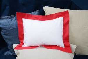 "Baby Pillow Sham. 12x16"". Red colored trimmed"
