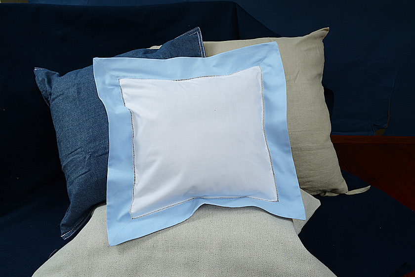 Baby Square Pillow. Baby Blue colored trimmed