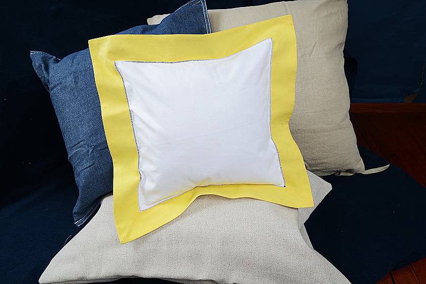 Baby Square Pillow. Celandine colored trimmed