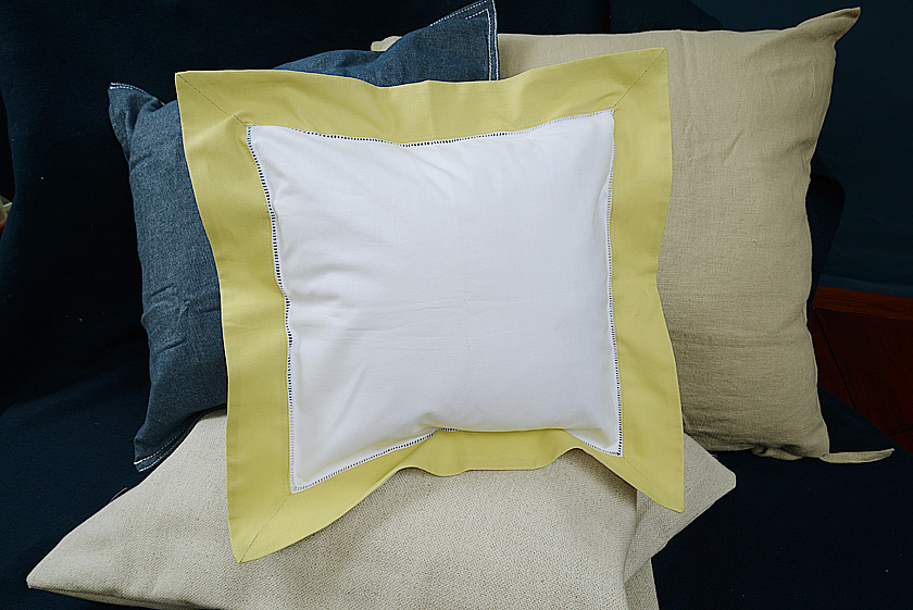 Baby Square Pillow. Chardonnay colored trimmed