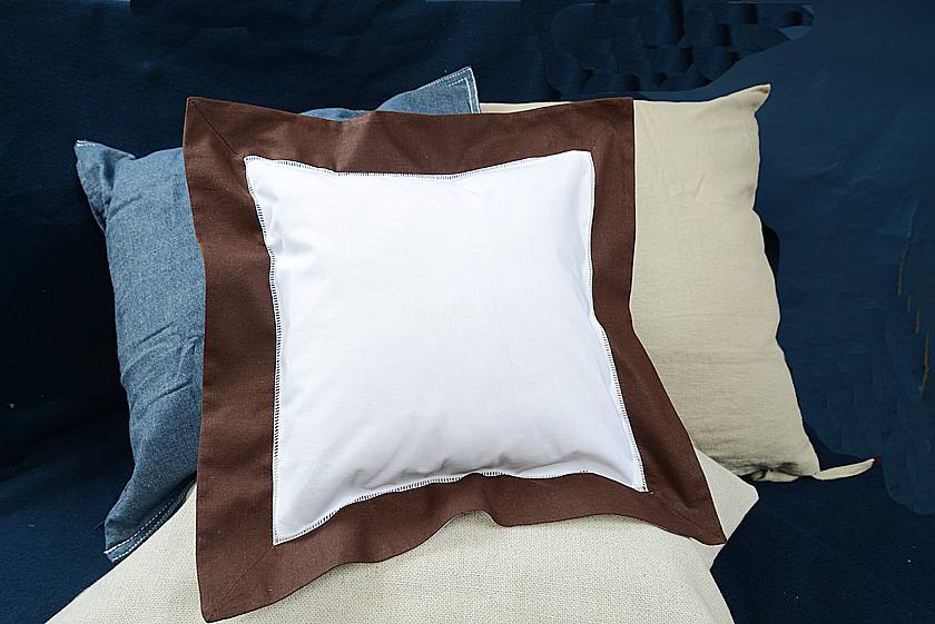 Baby Square Pillow. Chocolate colored trimmed