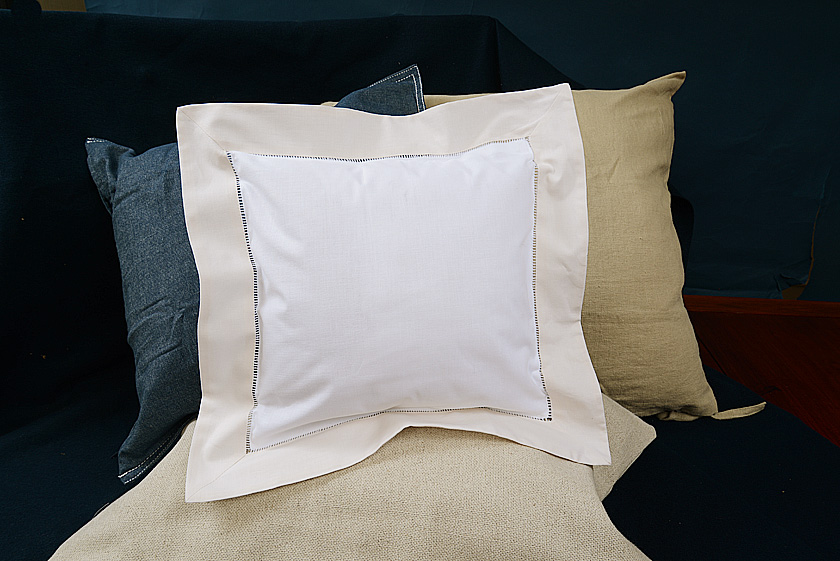 Baby Square Pillow. Coconut Milk colored trimmed