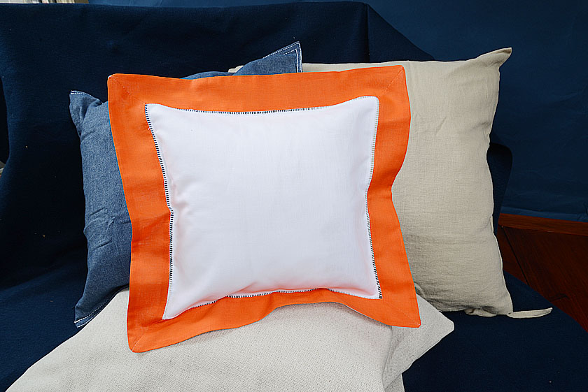 Baby Square Pillow. Exotic Orange colored trimmed