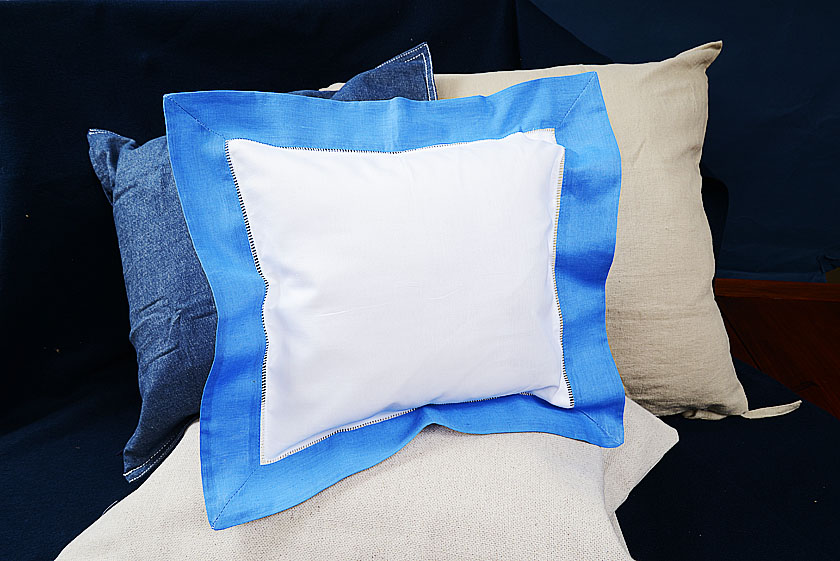 Baby Square Pillow. French Blue colored trimmed