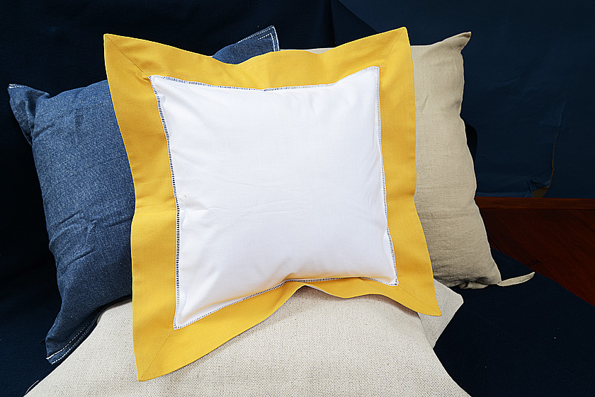 Baby Square Pillow. Habanero Gold colored trimmed