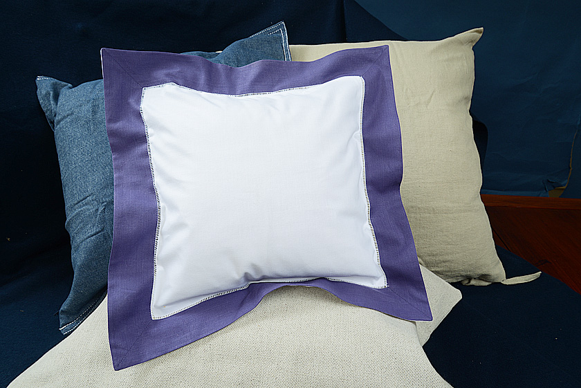 Baby Square Pillow. Imperial Purple colored trimmed