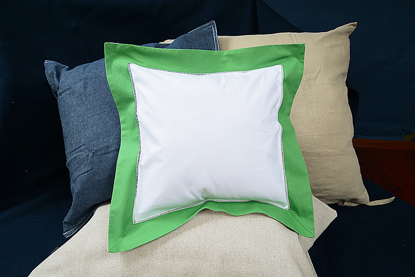 Baby Square pillow, kelly green colored trimmed