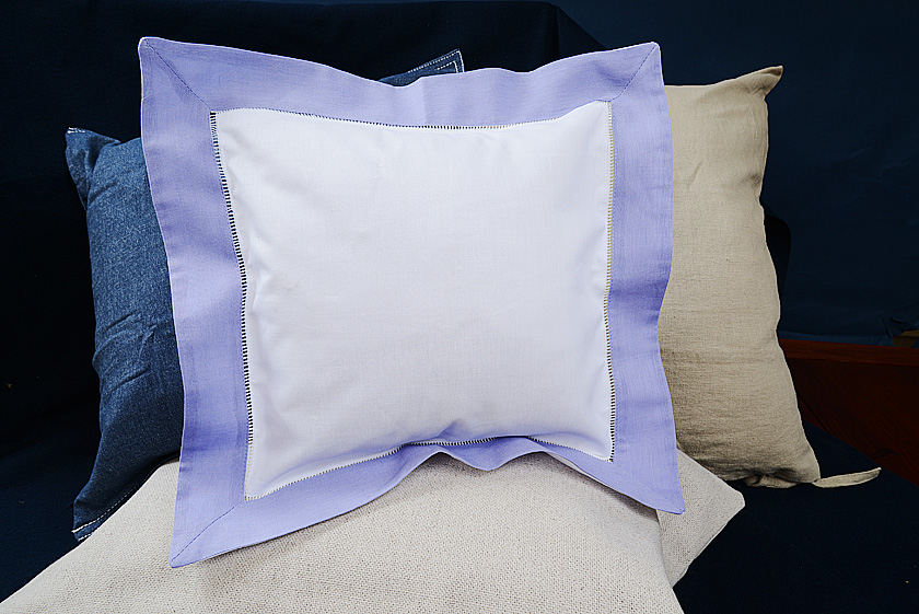 Baby Square pillow, lavender colored trimmed