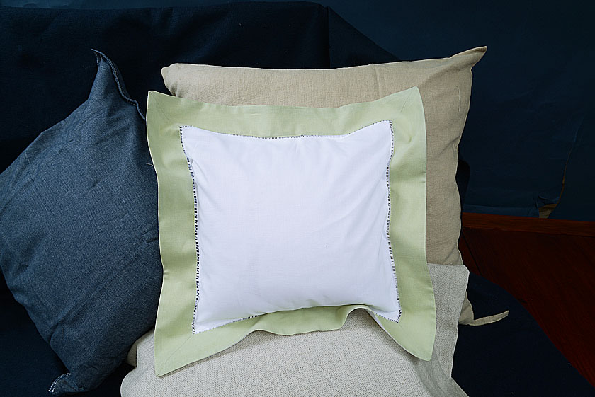 Baby Square Pillow, Mellow Green colored trimmed
