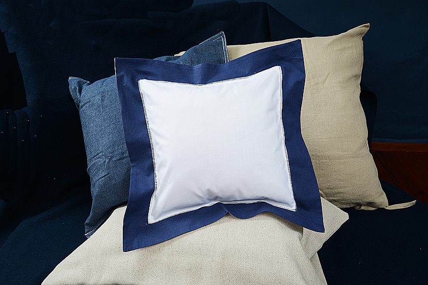 Baby Square Pillow, Navy colored trimmed