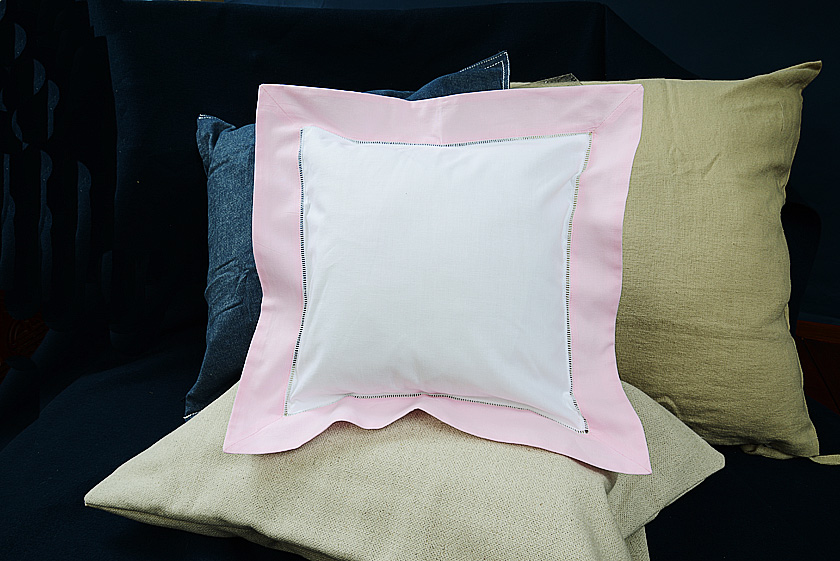 Baby Square Pillow, Pink colored trimmed