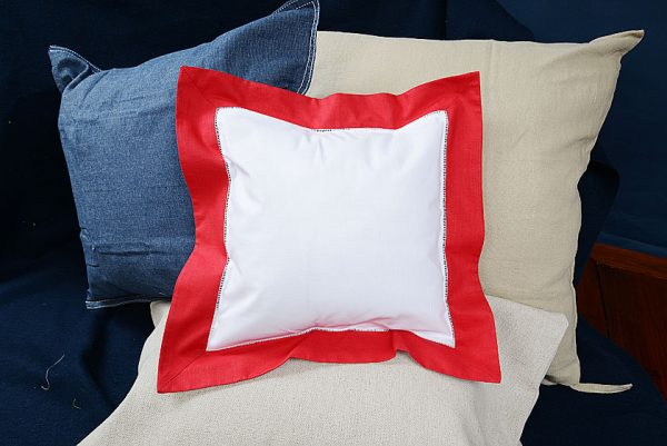 Baby Square Pillow. Red colored trimmed