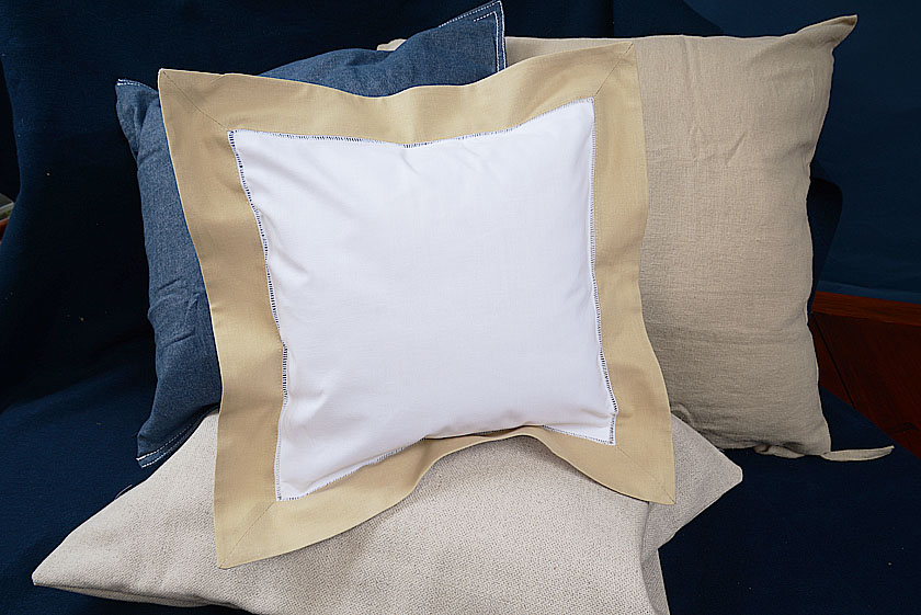 Square baby pillow Taupe colored trimmed
