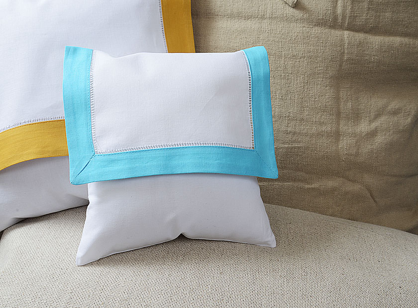 baby envelope pillow Aqua Marine colored trimmed