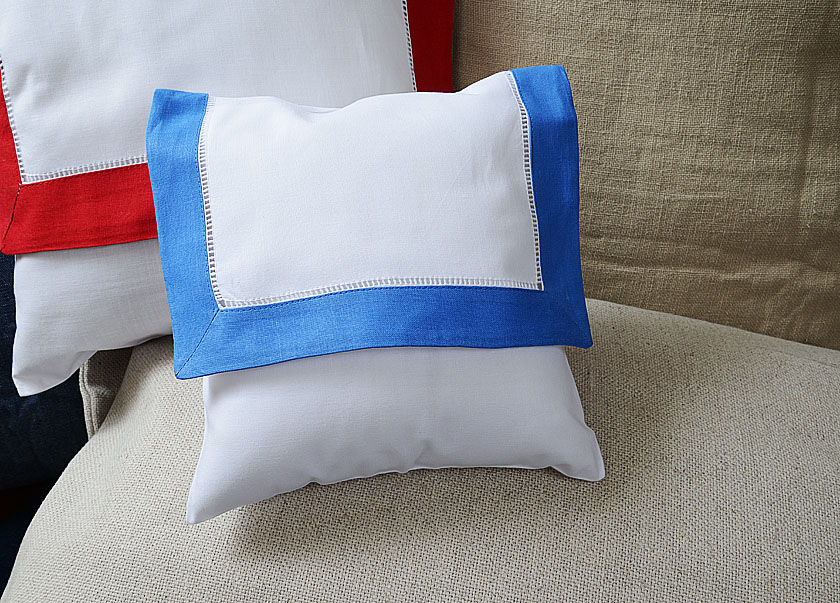 baby envelope pillow, French Blue colored trimmed