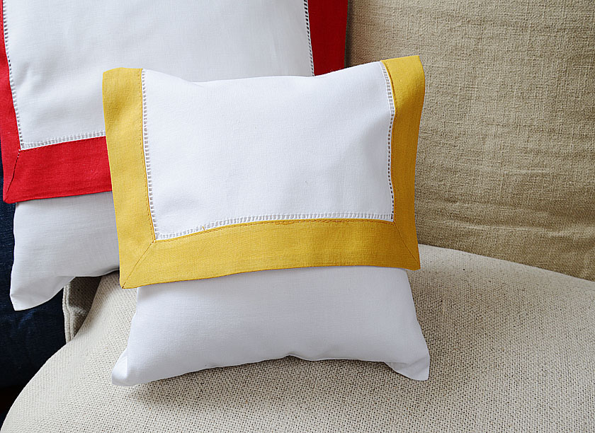 Baby Envelope Pillow, Honey Gold colored trimmed.