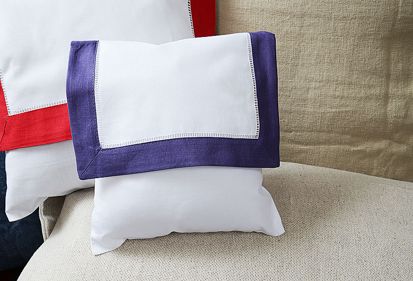 Baby envelope pillow, Imperial Purple colored trimmed.