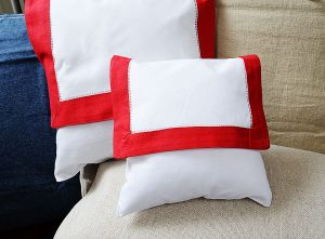Baby Envelope pillow, Red trimmed
