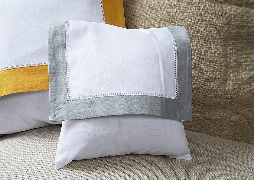 Baby Envelope Pillow, Slate Gray colored trimmed