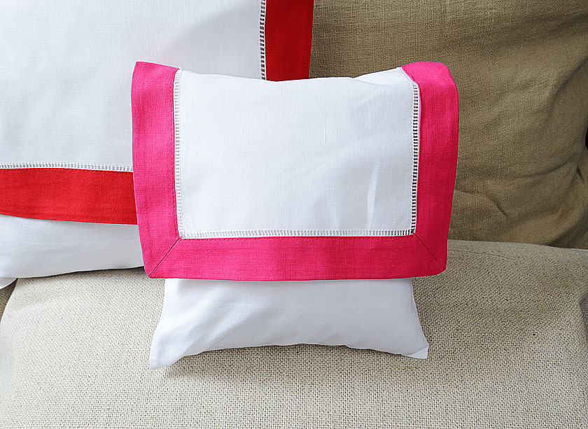 Baby Envelope Pillow. Hot Pink colored trimmed
