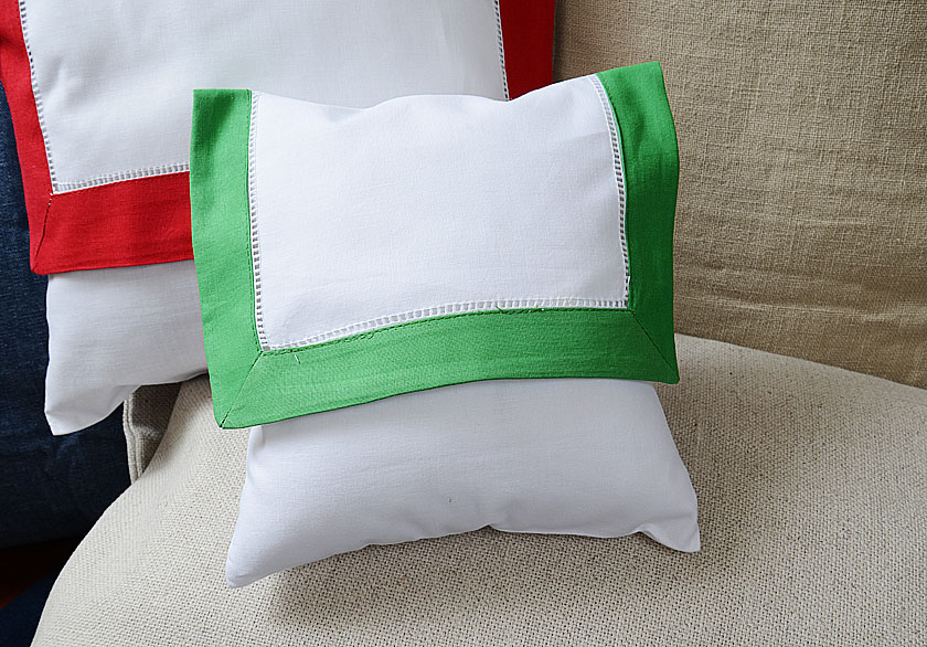 baby envelope pillow. Kelly Green colored trimmed.
