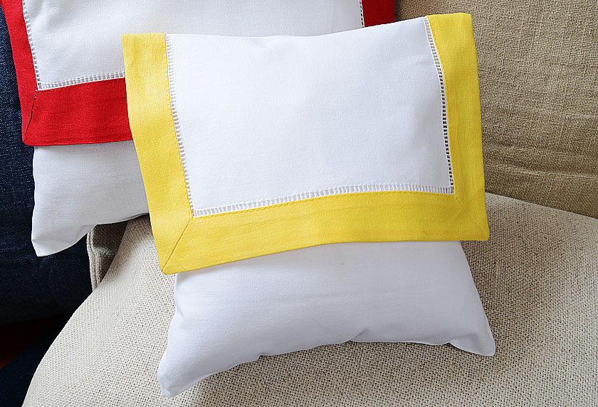 baby envelope pillow, golden kiwi colored trimmed