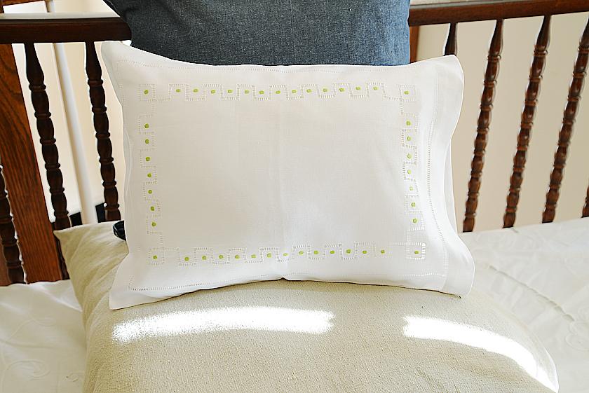 baby pillowcase Wild Lime Green Dot