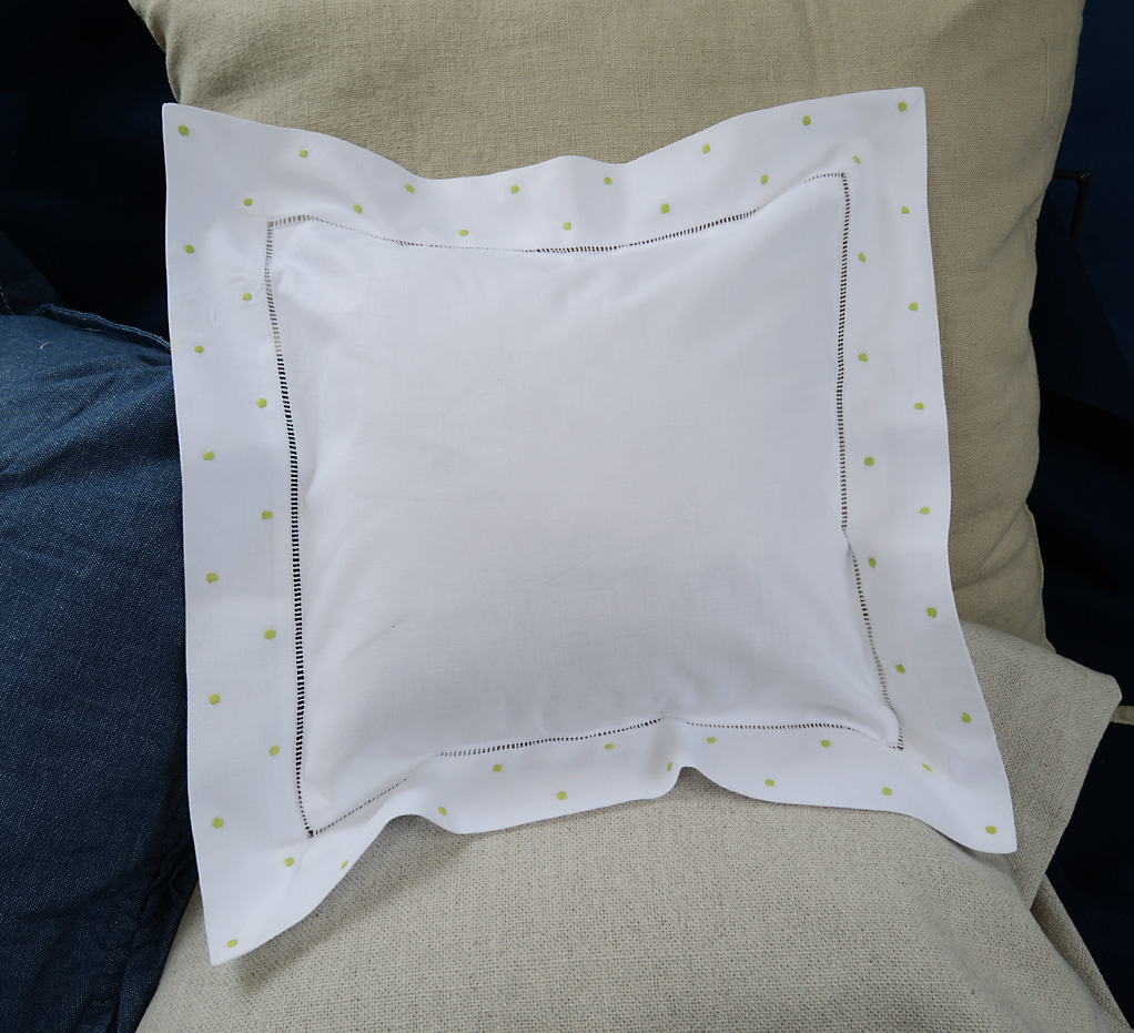 Baby Square Pillow. Mild Green colored Polka Dots