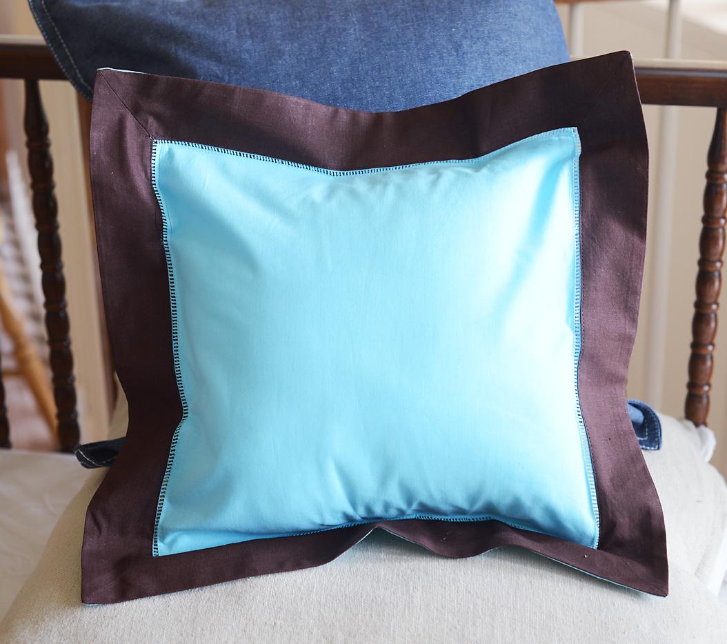 Baby Square Pillow Multi Colored. Aqua & Chocolate
