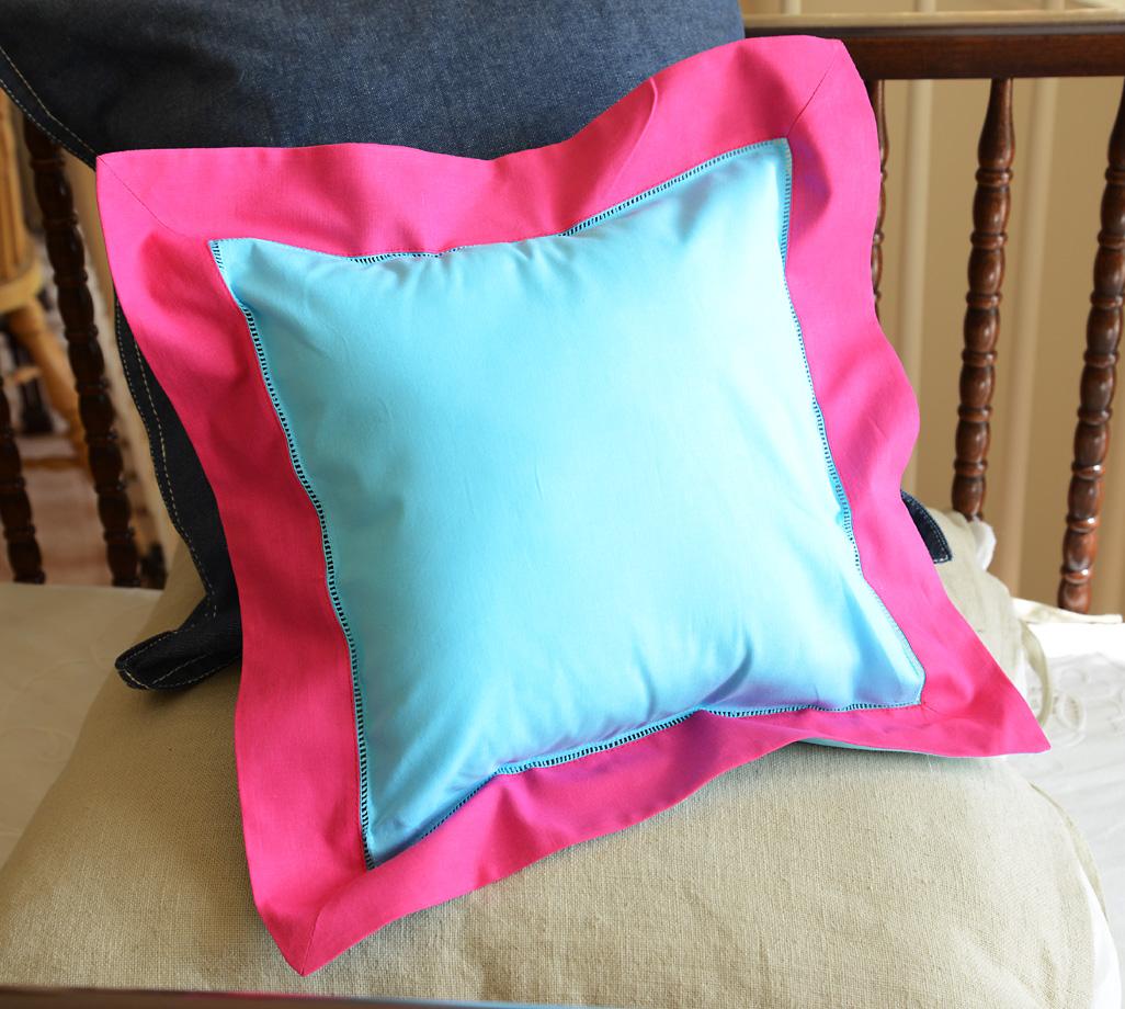 Baby Square Pillow Muti Colored Aqua & Pink Peacock
