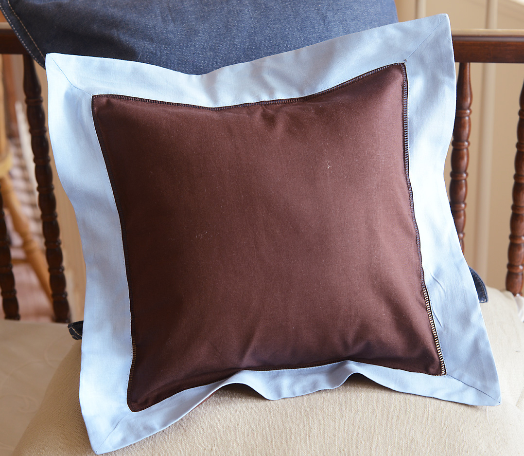 Baby Square Pillow Multi Colored. Chocolate & Baby BLue trimmed