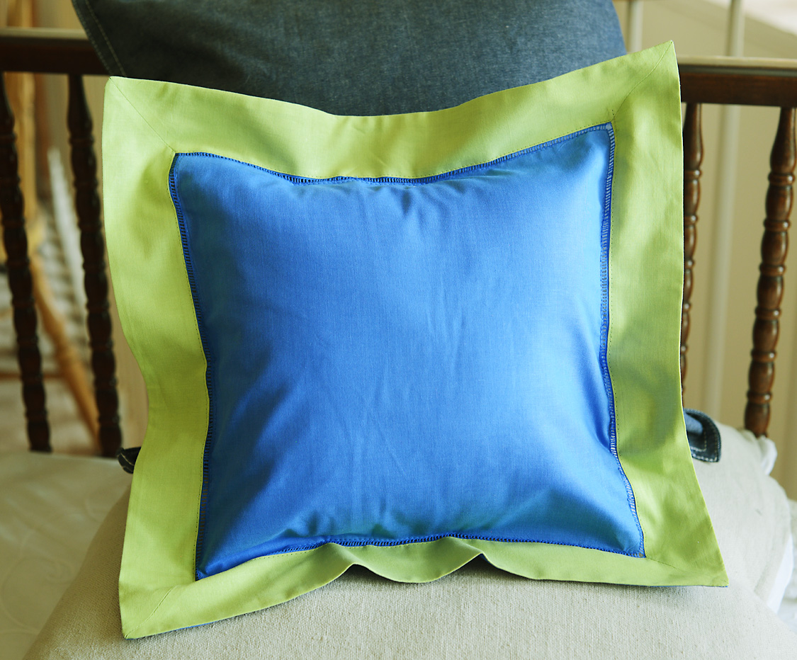 Baby Square Pillow Multi Colored French Blue & Hot Green