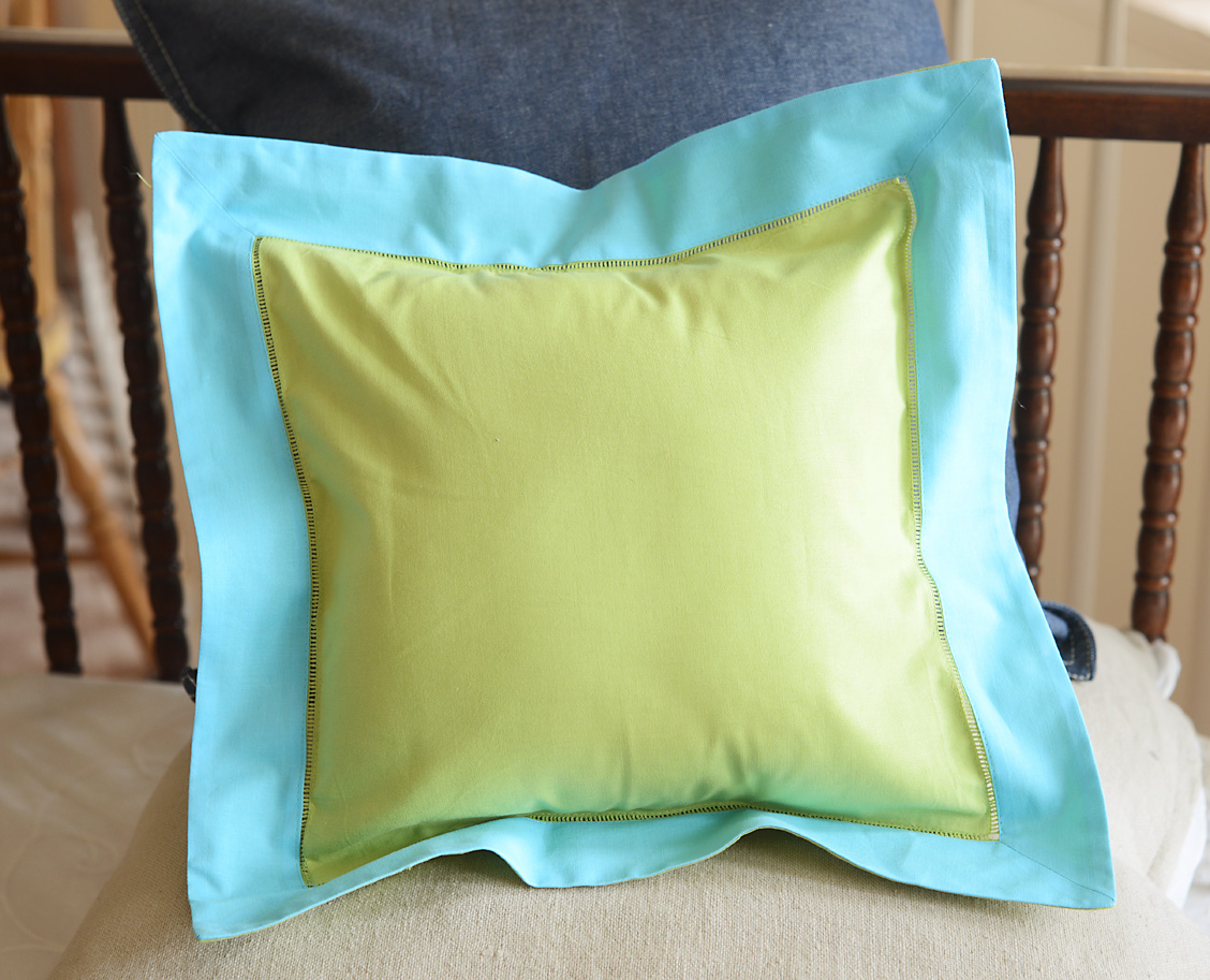 Baby Square Pillow Multi Colored Hot Green & Aqua