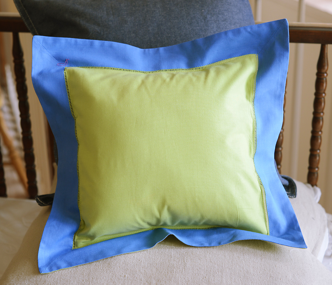 Baby Square Pillow Multi Colored Hot Green & French Blue