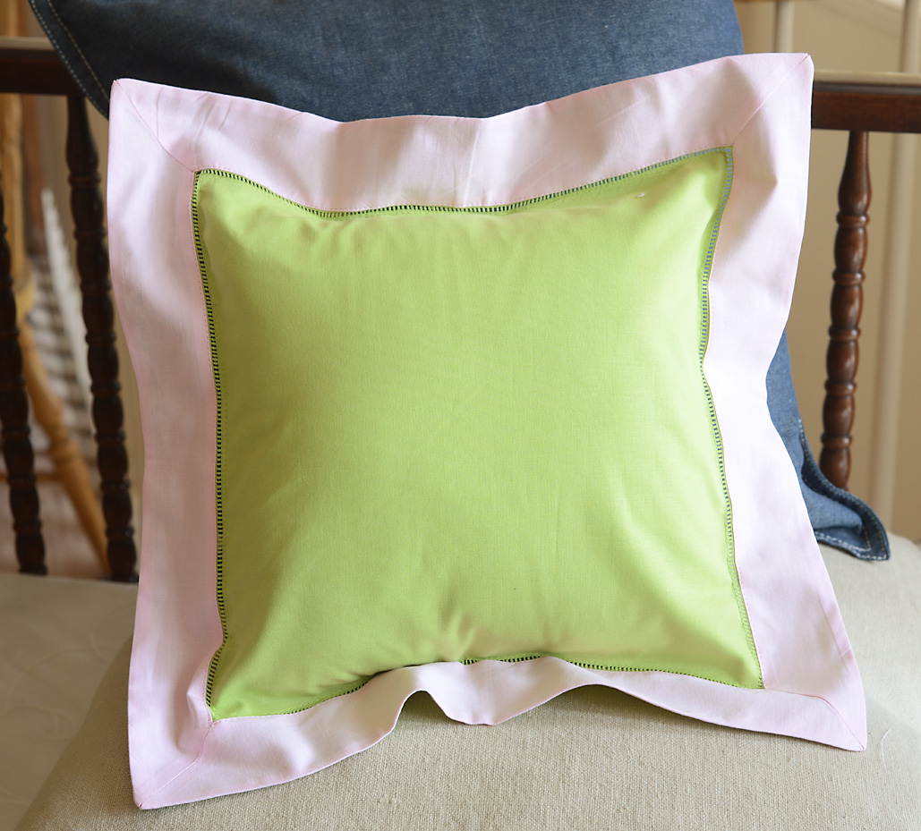 Baby Square Pillow. Multi Colored Hot Green & Baby Pink colored