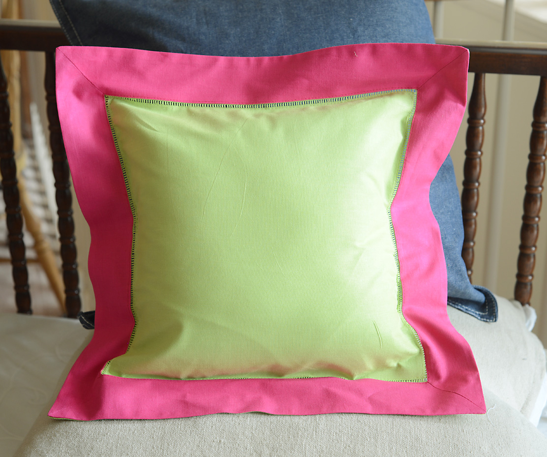 Baby Square Pillow Multi Colored. Hot Green & Pink Peacock