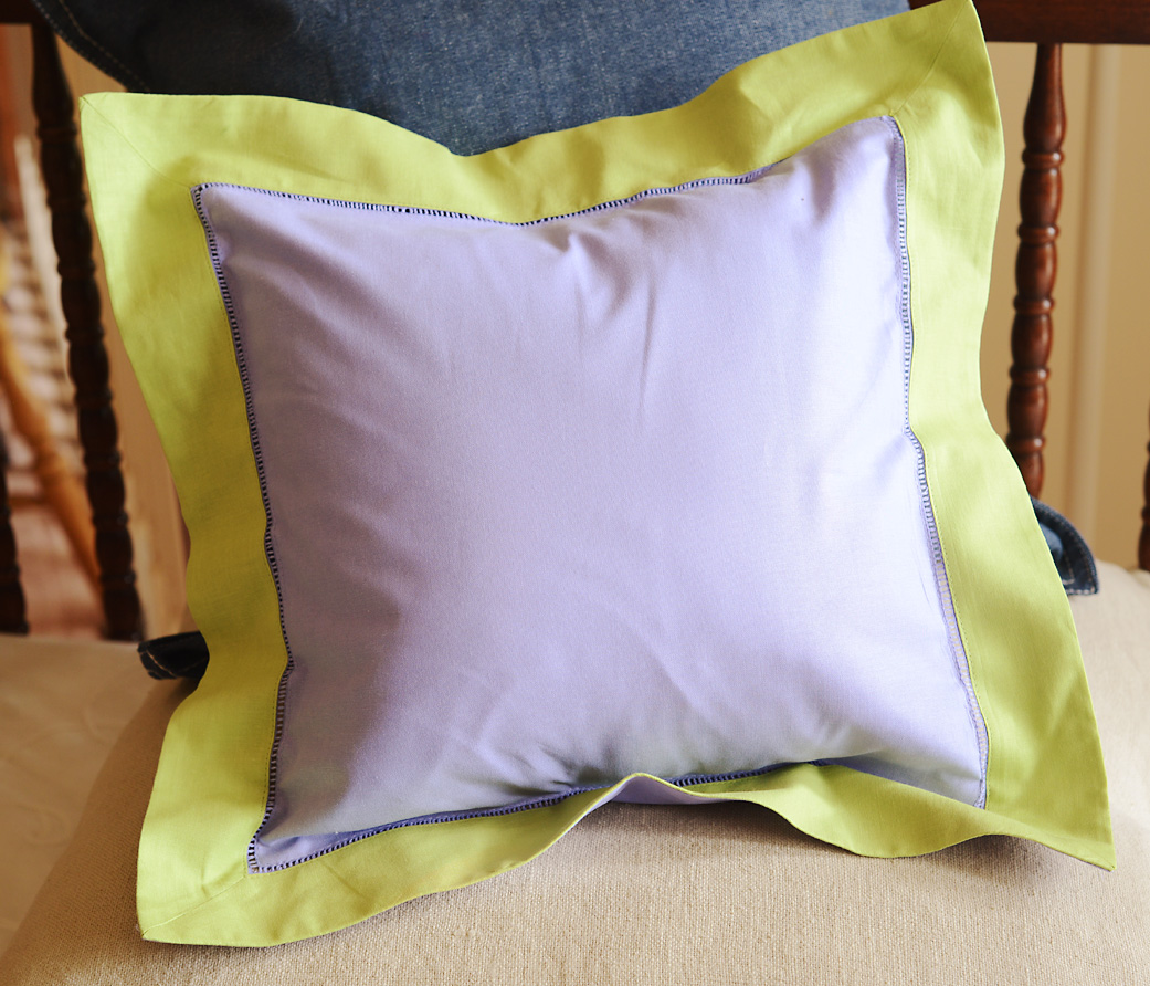Baby Square Pillow Multi colored. Lavender & Hot Green