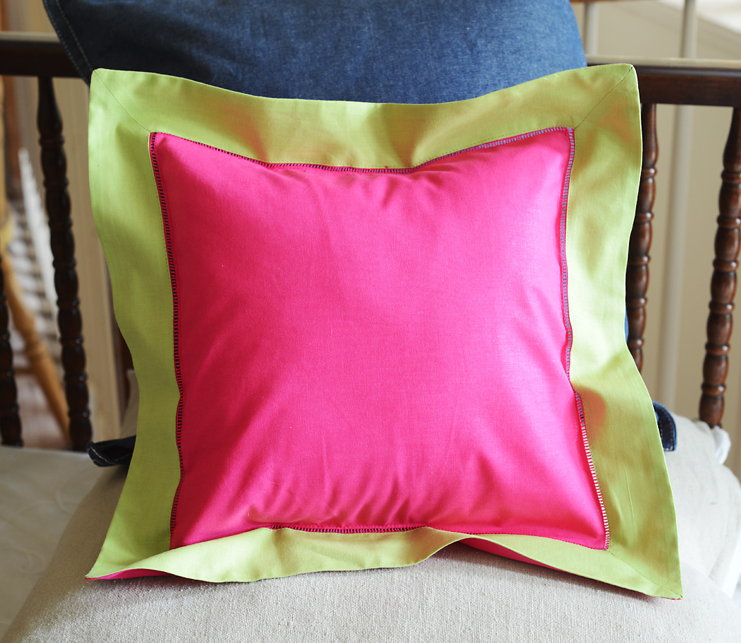 Baby Square Pillow. Multi Colored Pink Peacock & Hot Green