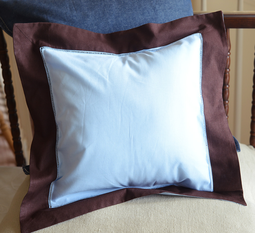 Baby Square Pillow Multi Colored Baby Blue & Chocolate