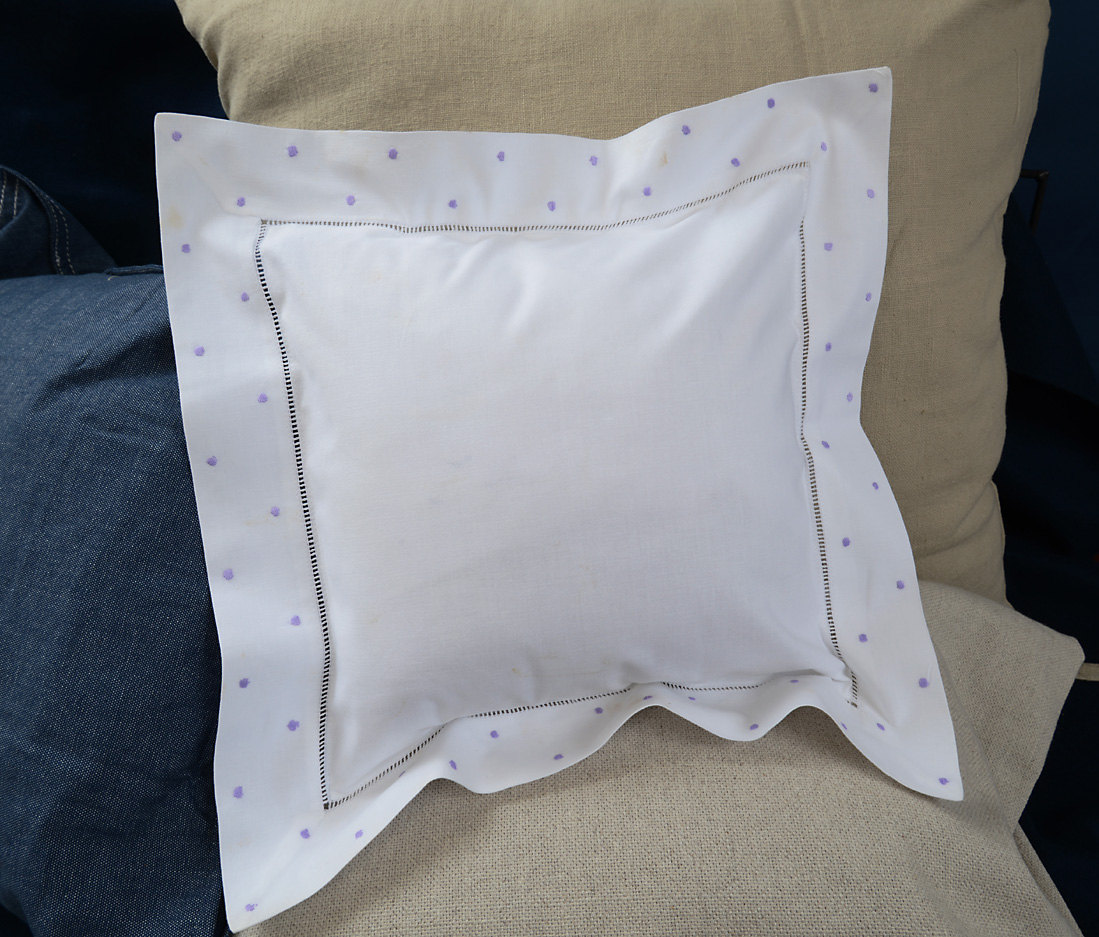 Baby Square Pillow Sweet Lavender Polka Dots