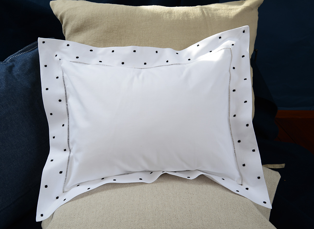 baby pillows with black polka dots