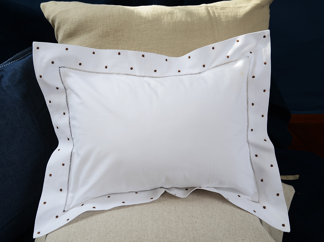 baby pillow brown colored polka dots